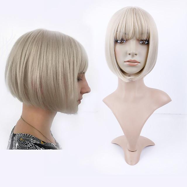 peluca dorada corta recta natural cubierta de pelo corto sucia cabeza bob dorada cubierta de pelo de fibra química nueva peluca de halloween