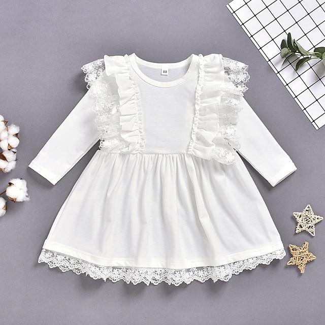 Kids Little Girls' Dress Solid Colored Print White Knee-length Long Sleeve Active Dresses Summer Regular Fit 2-6 Years