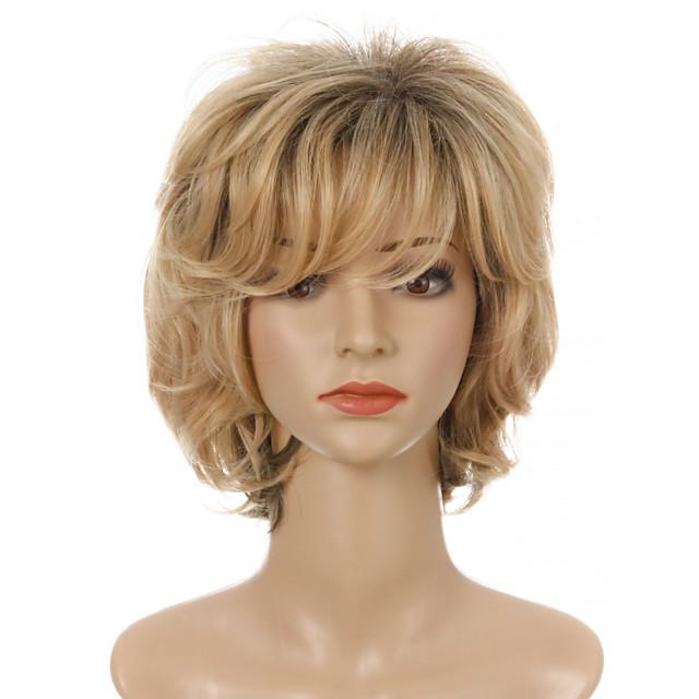 Synthetische pruiken Gekruld Zijdeel Strakke pony Pruik Kort Licht blond Synthetisch haar Dames Cosplay Feest Modieus Blond