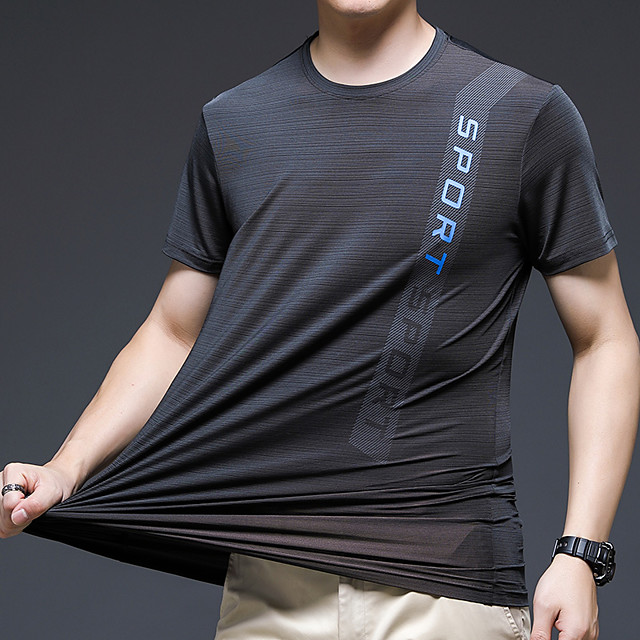 Men's T shirt Hiking Tee shirt Short Sleeve Crew Neck Tee Tshirt Top Outdoor Quick Dry Lightweight Breathable Stretchy Autumn / Fall Spring Summer Ice Silk Polyester White Black Red Hunting Fishing