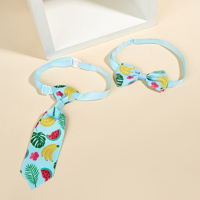 Dog Cat Necklace Tie / Bow Tie Bowknot Fruit Elegant Hawaiian Sweet Dailywear Casual / Daily Dog Clothes Puppy Clothes Dog Outfits Breathable Blue Costume for Girl and Boy Dog Cotton M