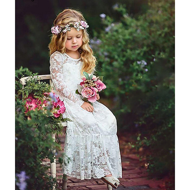 Kids Girls' Sweet Boho Party White Jacquard Lace Flower Long Sleeve Maxi Dress White