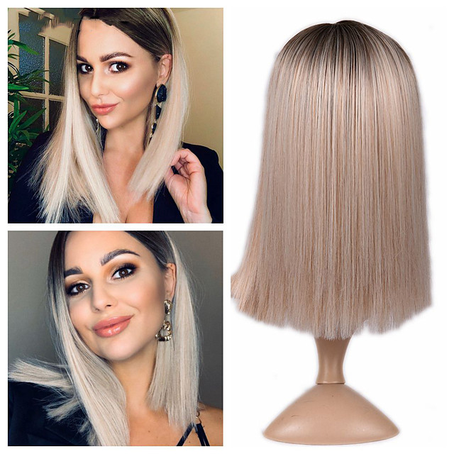 Synthetic Wig Natural Straight Middle Part Wig Short A15 A16 A17 A18 A19 Synthetic Hair Women's Cosplay Party Fashion Blonde Brown