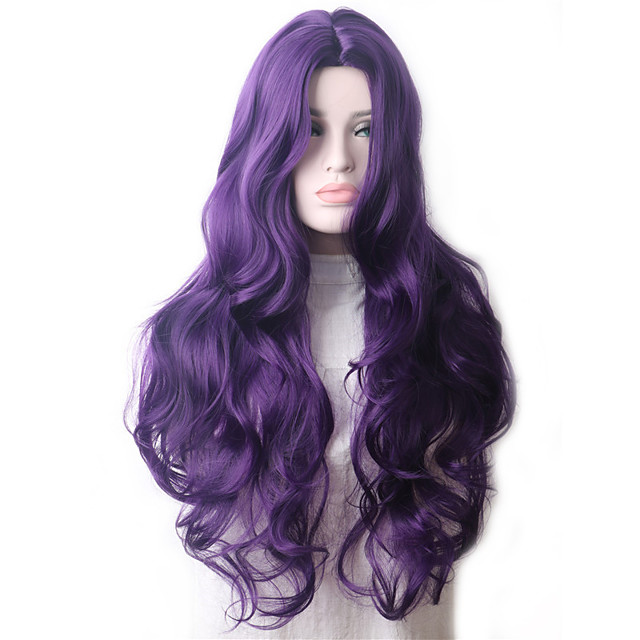 Wavy Purple Synthetic Wig Long Hair Colored Cosplay Wigs For Women Female Grey Green Pink Red Dark Brown Black Blue