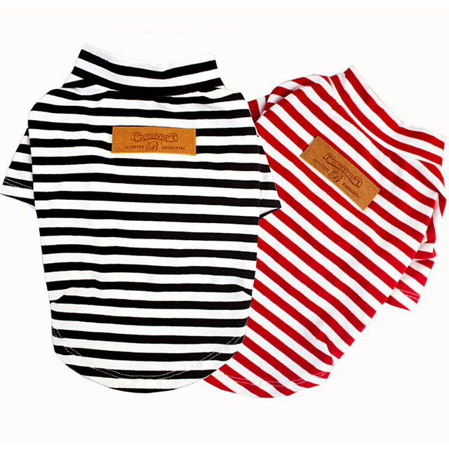 Dog Cat Shirt / T-Shirt Vest Striped Casual / Daily Dog Clothes Puppy Clothes Dog Outfits Black Red Costume for Girl and Boy Dog Padded Fabric XS S M L XL