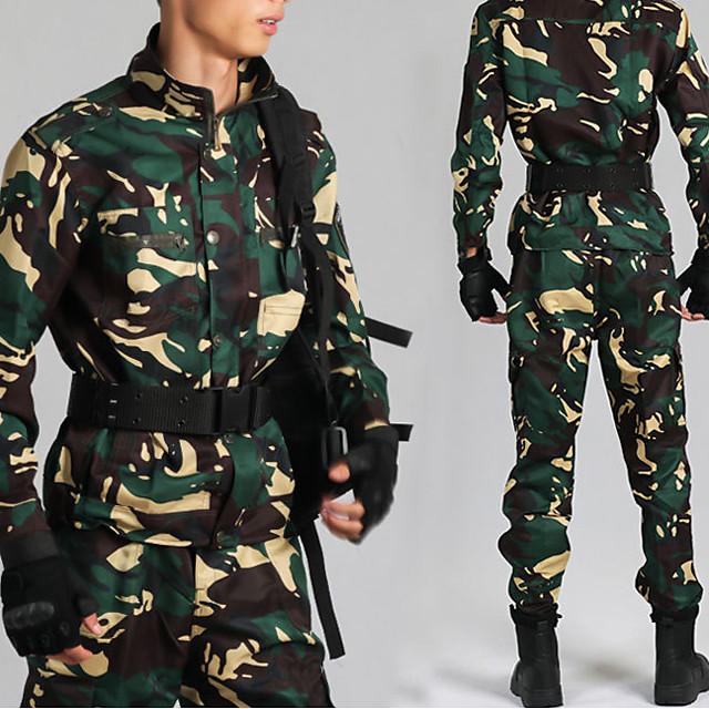 Women's Men's Hiking Jacket with Pants Military Tactical Jacket Autumn / Fall Spring Summer Outdoor Camo Thermal Warm Windproof Quick Dry Lightweight Clothing Suit Full Length Visible Zipper Fishing