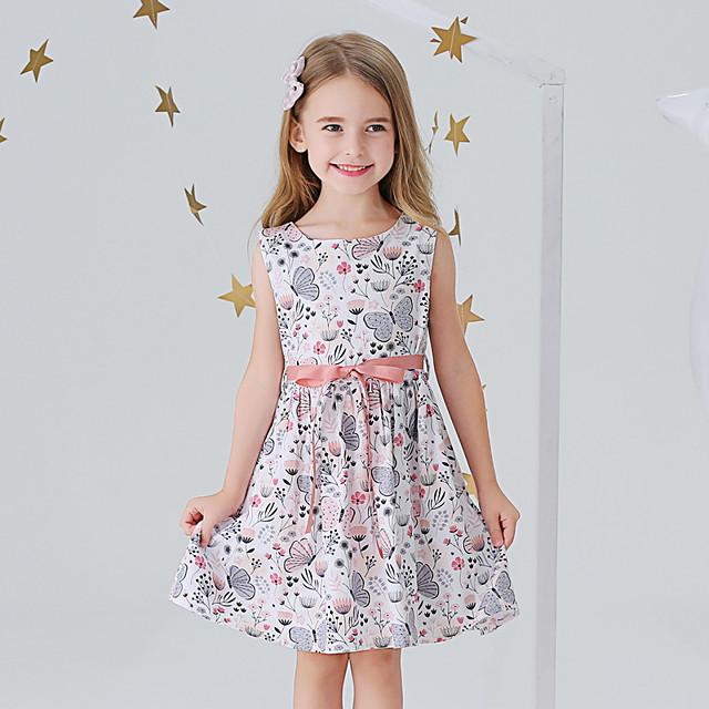 아동 작은 여아 드레스 버터플라이 꽃장식 동물 선 드레스 캐쥬얼 리본 프린트 블러슁 핑크 밝은 블루 무릎길이 민소매 베이직 귀여운 스타일 드레스 보통 2 ~ 8 년