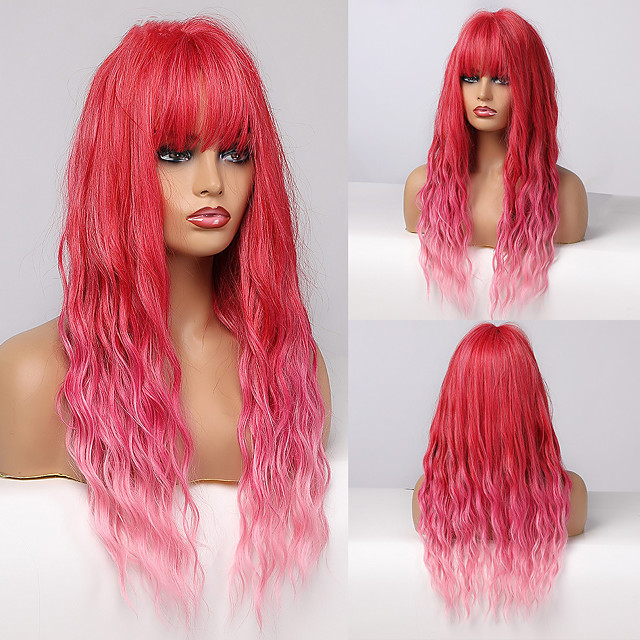 Synthetic Wig Deep Wave Neat Bang Wig Medium Length A10 A1 A2 A3 A4 Synthetic Hair Women's Cosplay Party Fashion Red