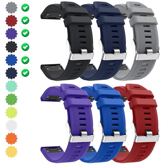 Smart Watch Band for Garmin 6 PCS Sport Band Silicone Replacement  Wrist Strap for Approach S60 Fenix 5 Fenix 5 Plus Garmin Quatix 5 Forerunner 945 22mm