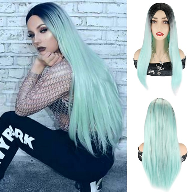 Synthetic Wig Straight Silky Straight Middle Part Wig 24 inch Lake Blue Synthetic Hair 24 inch Women's Cosplay Party African American Wig Blue