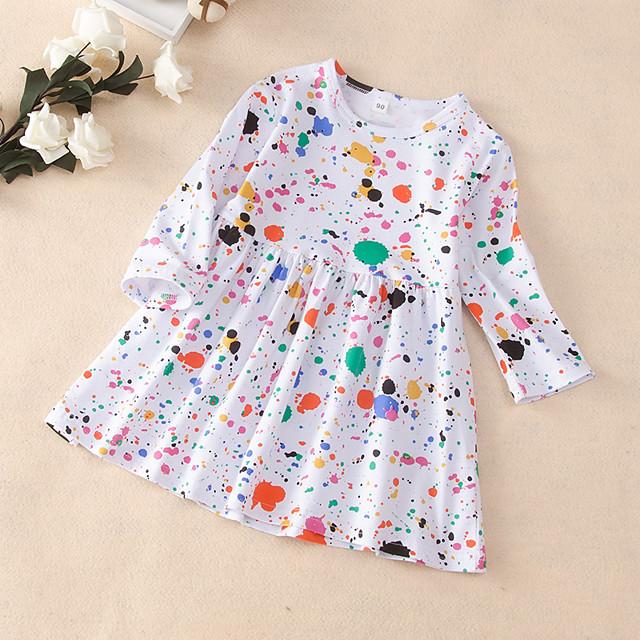 Kids Little Girls' Dress Polka Dot Print White Long Sleeve Active Dresses Summer Regular Fit 2-6 Years
