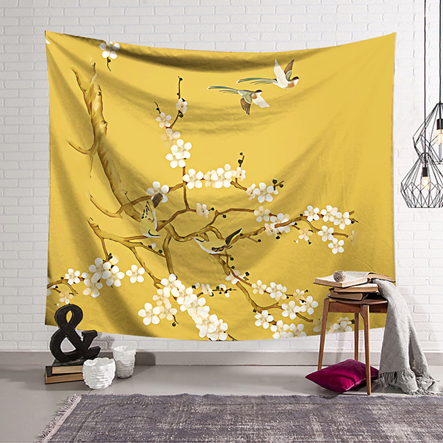 Chinese Style Wall Tapestry Art Decor Blanket Curtain Hanging Home Bedroom Living Room  Modern White Floral Theme