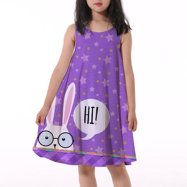 Kids Little Girls' Dress Rabbit Letter Animal Print Purple Knee-length Sleeveless Flower Active Dresses Summer Regular Fit 5-12 Years