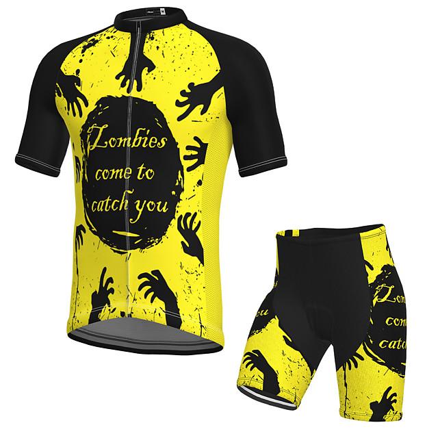 21Grams Męskie Krótki rękaw Koszulka z szortami na rower Lato Spandeks Poliester Czarny / Żółty Rower Zestawy odzież Wkładka 3D Szybkie wysychanie Odprowadza wilgoć Oddychający Odblaskowe paski Sport
