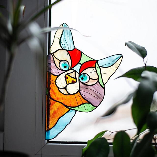 ملصق حائط للديكور المنزلي من الكلوريد متعدد الفينيل مُلصق مسبقًا 1 قطعة ملصق نافذة الحيوان