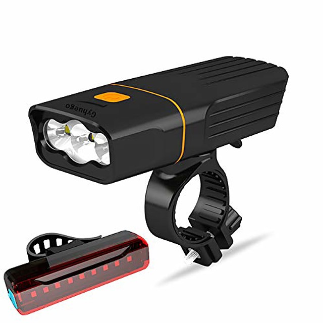 usb rechargeable bike light front, super bright 3 led 3000 lumens, runtime 10hrs waterproof bicycle headlight and taillight, free bike tail light, cycling safety flashlight