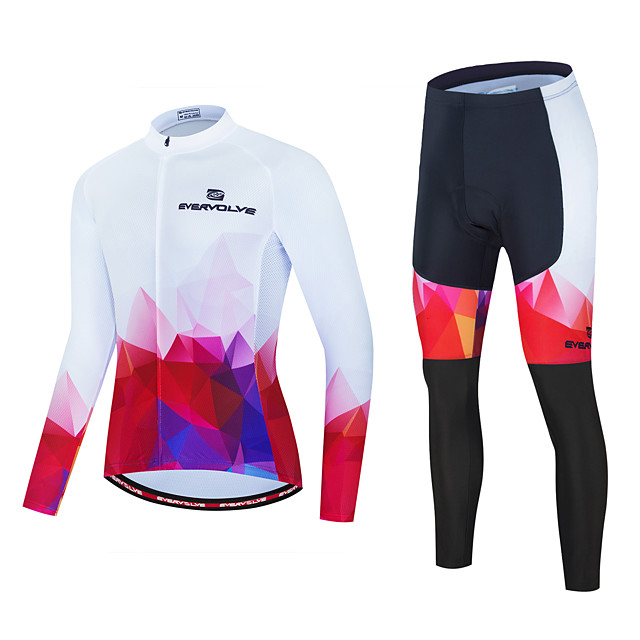 Men's Long Sleeve Cycling Jersey with Tights Red and White Bike Sports Geometic Clothing Apparel / Micro-elastic / Athleisure