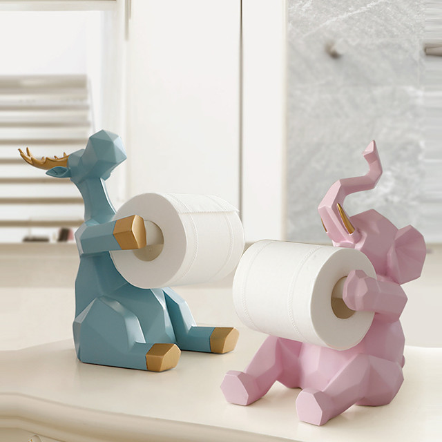Cute Elephant Storage Tissue Rack Ornaments Living Room Desktop Paper Roll Holder Resin Kitchen Napkin Rack
