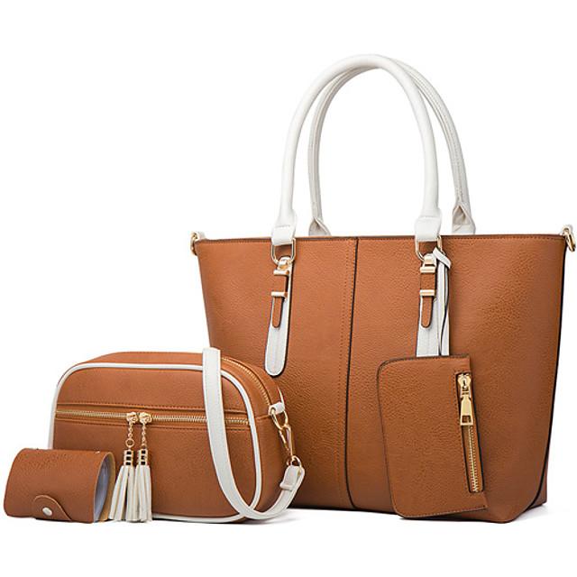 Women's Bags PU Leather Bag Set 4 Pieces Purse Set Zipper Solid Color Daily Date Bag Sets 2021 Handbags White Black Brown