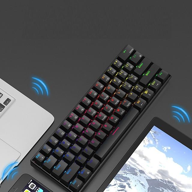 AJAZZ i610T Trådlöst Bluetooth USB trådlöst dubbelläge mekaniska tangentbord Nyhet Spel RGB bakgrundsbelysning 61 pcs Nycklar