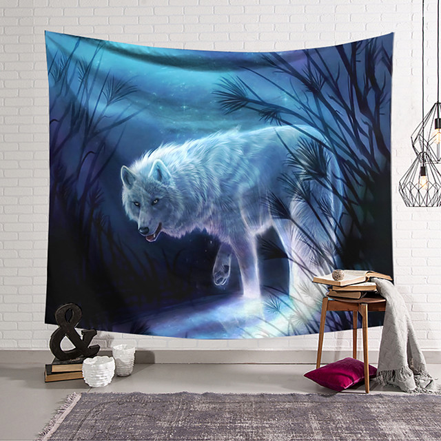 Wall Tapestry Art Decor Blanket Curtain Hanging Home Bedroom Living Room Wolf Animal  Fantasy