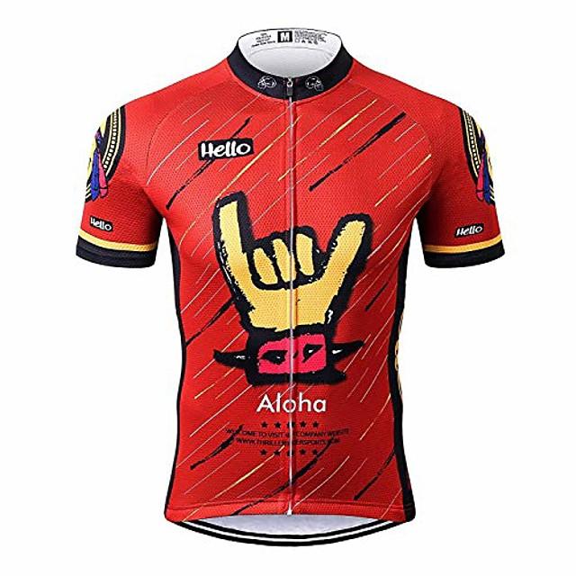 sports mens aloha red mountain bike short sleeve cycling jersey bike tshirt 4x-large