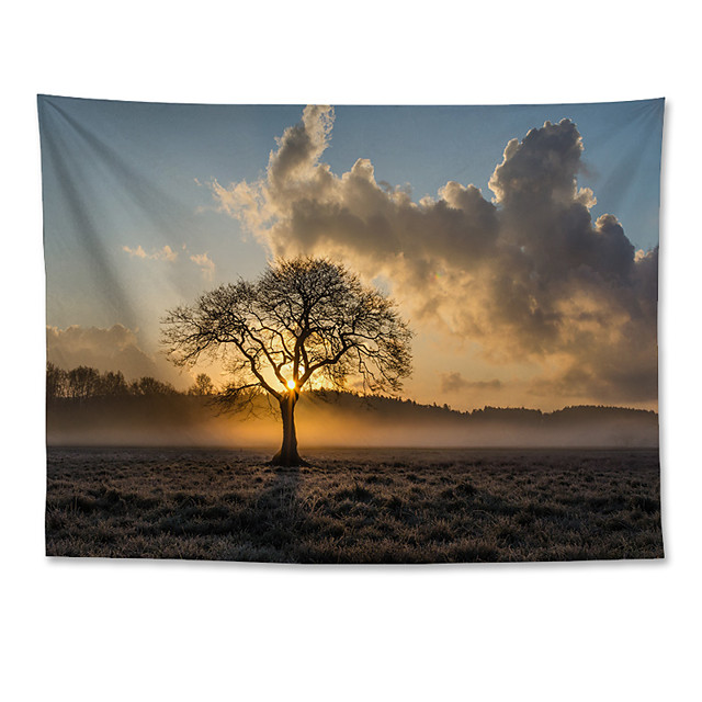 vägg tapet konst dekor filt gardin hängande hem sovrum vardagsrum dekoration polyester ensam träd solnedgång landskap
