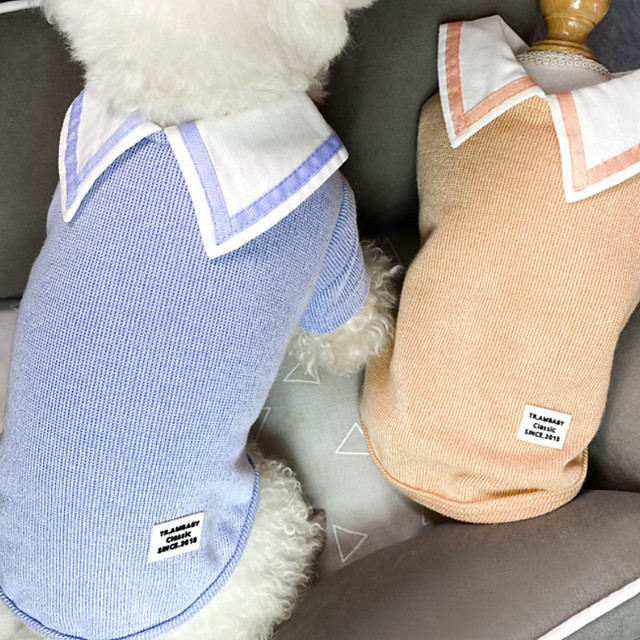 Dog Cat Shirt / T-Shirt Cartoon Basic Elegant Cute Dailywear Casual / Daily Dog Clothes Puppy Clothes Dog Outfits Breathable Yellow Blue Orange Costume for Girl and Boy Dog Cotton S M L XL XXL