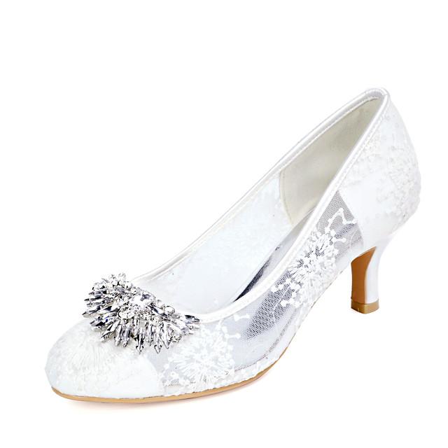 Women's Wedding Shoes Kitten Heel Round Toe Wedding Pumps Lace Rhinestone Floral White Black Pink