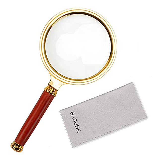 10X Handheld Magnifier, Reading Magnifier Loupe Glasses 10X with Rosewood Handle for Book and Newspaper Reading, Insect and Hobby Observation, Classroom Science (Metal Frame)