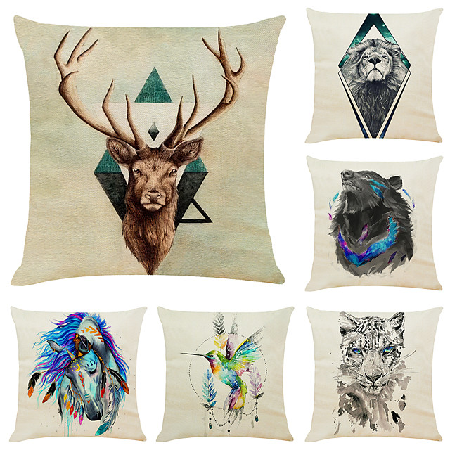 6 pcs Linen Pillow Cover, Animal Simple Modern Square Zipper Traditional Classic