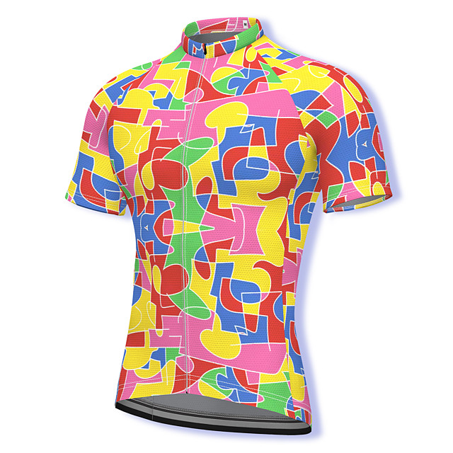 21Grams Men's Short Sleeve Cycling Jersey Summer Spandex Polyester Pink Rainbow Bike Jersey Top Mountain Bike MTB Road Bike Cycling Quick Dry Moisture Wicking Breathable Sports Clothing Apparel