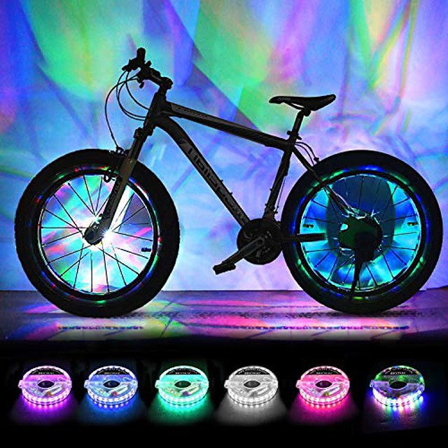 rechargeable bike wheel lights, led bike spoke lights cycling wheel safety light, cool bicycle tire spoke decoration, usb charge, ultra bright, waterproof, gifts for boys girls adults