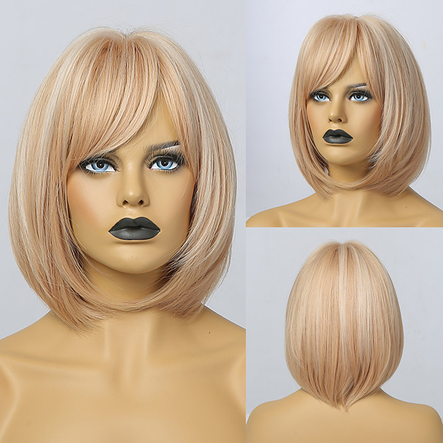 Synthetic Wig Natural Straight Short Bob Wig Short Light Blonde Synthetic Hair Women's Cosplay Party Fashion Blonde
