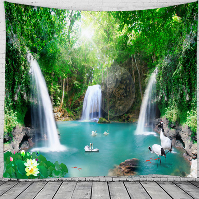 Majestic Waterfall Scenery Wall Tapestry Art Decor Blanket Curtain Hanging Home Bedroom Living Room Decoration