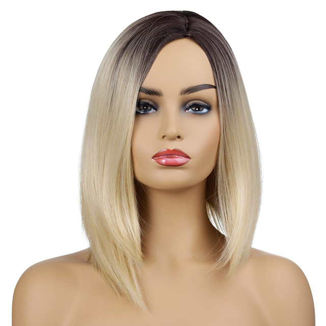 Synthetic Wig Natural Straight Side Part Wig Short Black / Gold Synthetic Hair Women's Party Fashion Comfy Blonde Black
