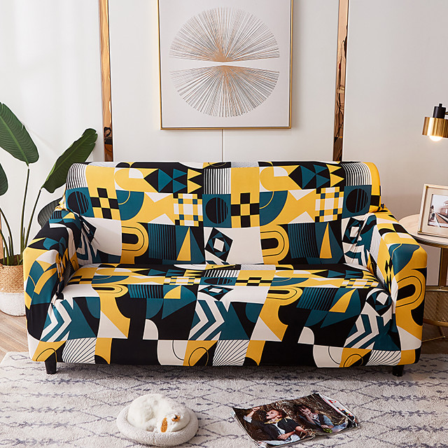 Sofa Cover Geometric Colourful Lines  Elastic Sofa Cover To Living Room Pet Sofa Dust Cover Recliner Sofa Cover