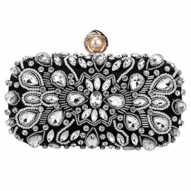 womens beaded clutch rhinestone evening bag wedding bridal prom purse.(black-3)