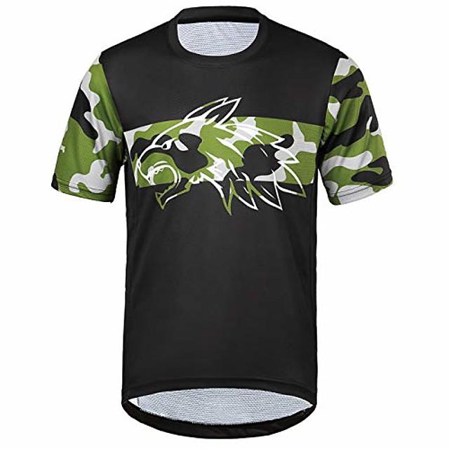 men's short-sleeved t-shirt lightweight breathable comfortable running cycling jerseys xxl, black-camo / 2