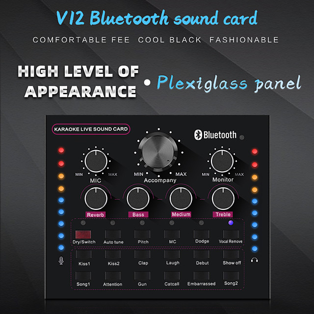 Bluetooth Wireless V12 Sound Card Mobile Phone Call Microphone Universal Anchor K Song Live Broadcast Equipment Plexiglass Pane
