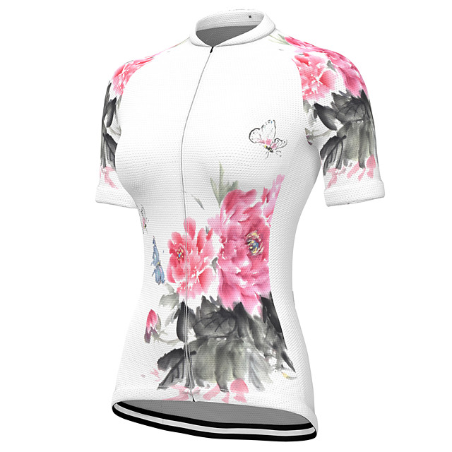 21Grams Women's Short Sleeve Cycling Jersey Summer Spandex Polyester White Floral Botanical Bike Jersey Top Mountain Bike MTB Road Bike Cycling Quick Dry Moisture Wicking Breathable Sports Clothing