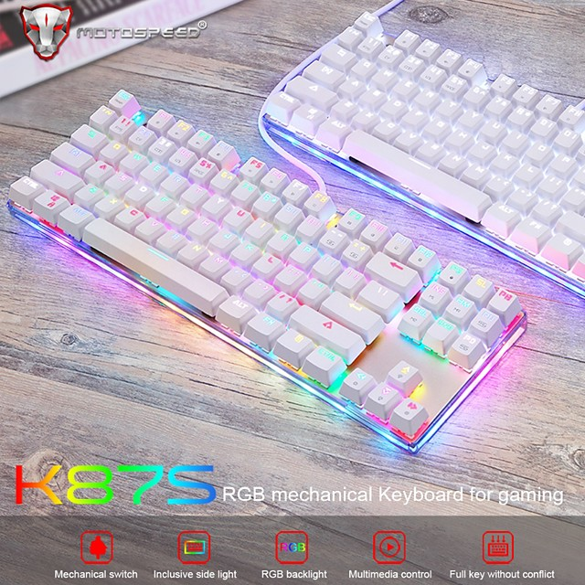 Motospeed K87S Gaming Mechanical Keyboard USB Wired 87 keys with RGB Backlight Red/Blue Switch for PC Computer Gamer