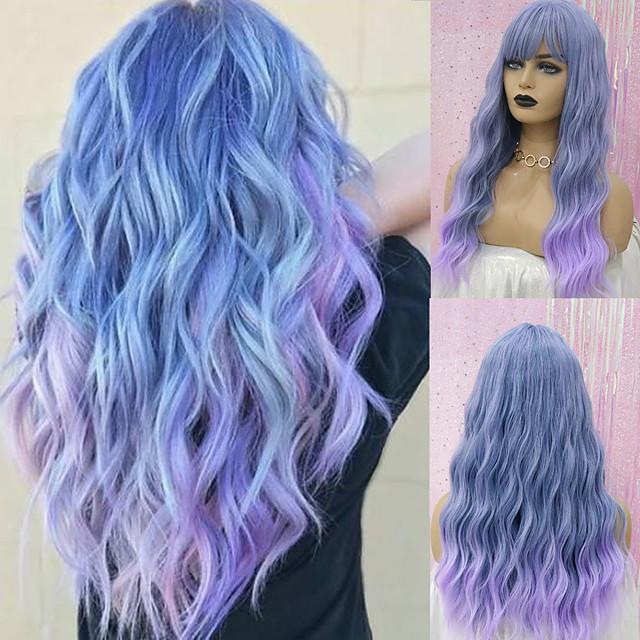 Synteettiset peruukit Syvät aallot Otsatukka Peruukki Keskikokoinen A10 A1 A2 A3 A4 Synteettiset hiukset Naisten Cosplay Juhla Muoti Tumman harmaa Sininen