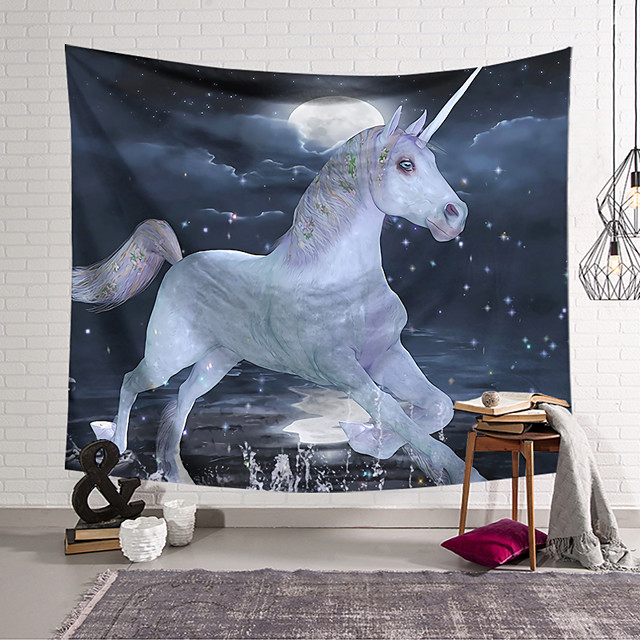 Wall Tapestry Art Decor Blanket Curtain Hanging Home Bedroom Living Room Decoration Polyester Unicorn