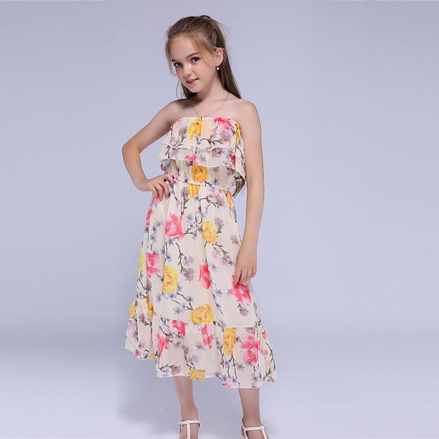 Kids Little Girls' Dress Floral Holiday Festival Print Yellow Maxi Sleeveless Active Sweet Dresses Summer Loose