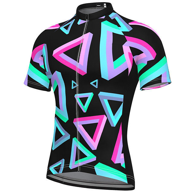 21Grams Men's Short Sleeve Cycling Jersey Summer Spandex Polyester Green Rainbow Bike Jersey Top Mountain Bike MTB Road Bike Cycling Quick Dry Moisture Wicking Breathable Sports Clothing Apparel