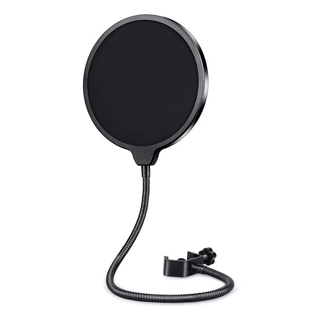 professionelt mikrofon popfilter maske skjold til blå yeti og enhver anden mikrofon, mikrofon dobbelt lag vind pop skærm med en fleksibel 360 ° svanehals klips stabiliserende arm