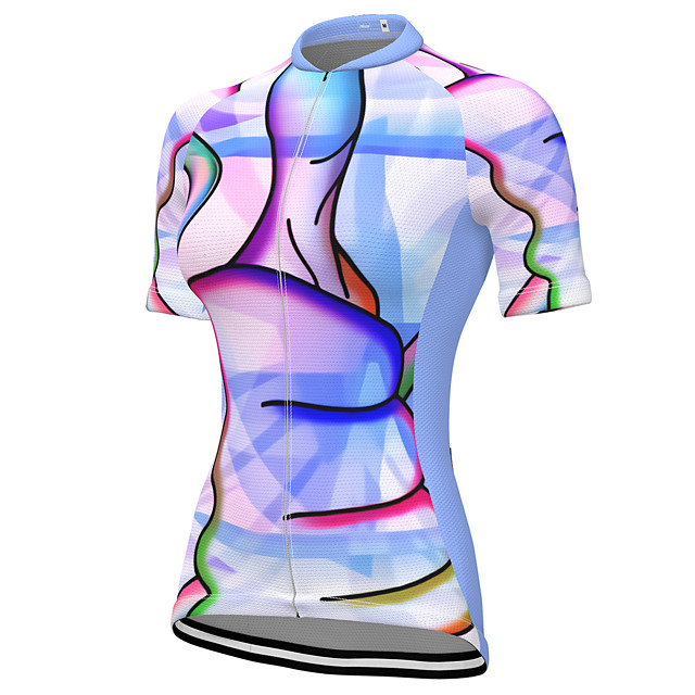 21Grams Women's Short Sleeve Cycling Jersey Summer Spandex Polyester Purple Rainbow Bike Jersey Top Mountain Bike MTB Road Bike Cycling Quick Dry Moisture Wicking Breathable Sports Clothing Apparel
