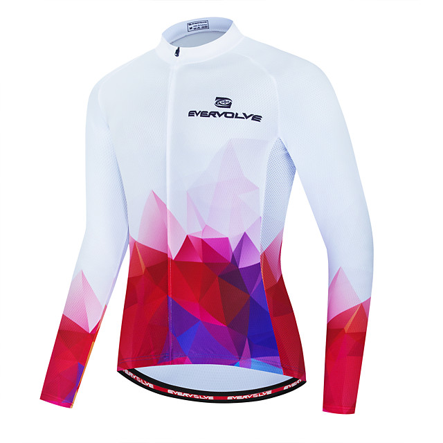 Men's Long Sleeve Cycling Jersey Red / White Rainbow Bike Jersey Back Pocket Sports Clothing Apparel / Micro-elastic / Athleisure