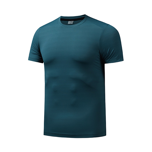 Men's T shirt Hiking Tee shirt Short Sleeve Crew Neck Tee Tshirt Top Outdoor Quick Dry Lightweight Breathable Soft Autumn / Fall Spring Summer Chinlon Spandex Solid Color White Black Purple Fishing